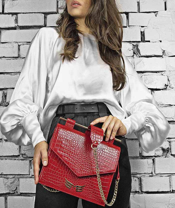 geanta Maestoso-Red-Croco-Square-Bag-II